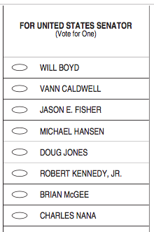 2017 Democrat senator sample ballot