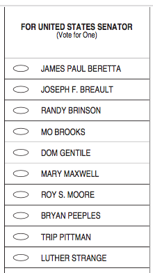 2017 Republican senator sample ballot