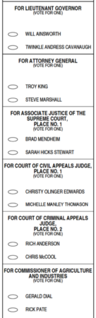 Jefferson County 2018 Republican runoff sample ballot