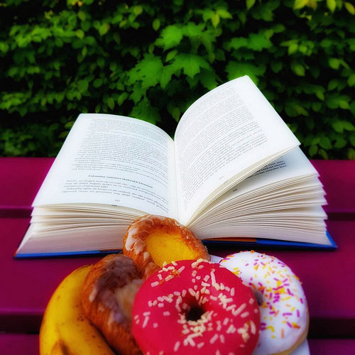 book and doughnuts