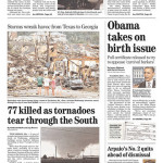 April 27 tornadoes: national newspaper front pages