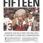 Alabama wins 2012 BCS National Championship: newspaper front pages