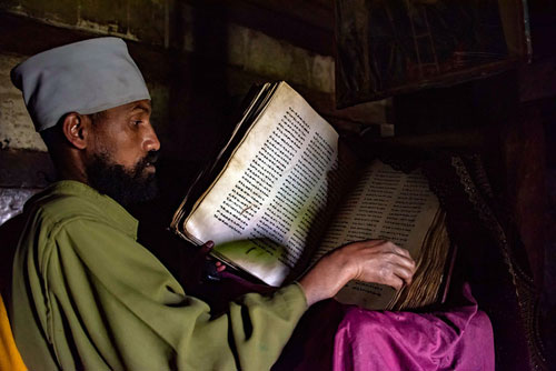 monk reading in Ethiopia