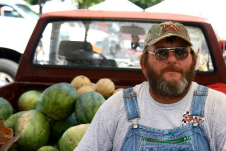 Pepper Place Saturday Market - farmer, watermelons