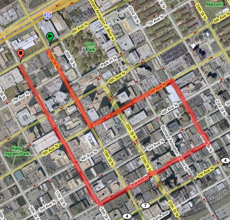 Veterans Day Parade route map
