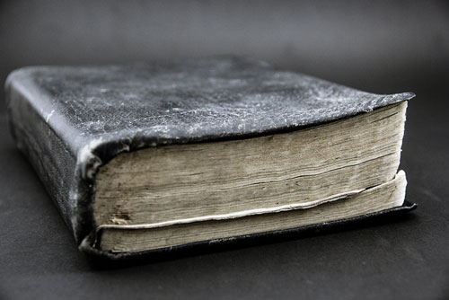 worn book with leather cover